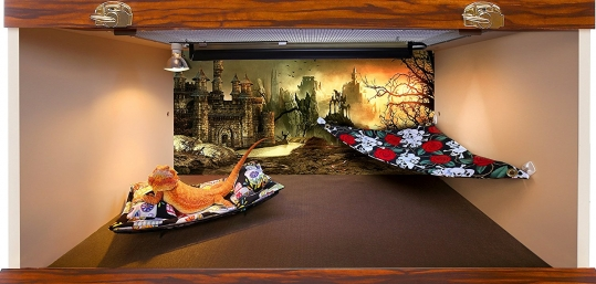 Chaise Lounge for Bearded Dragons, Sugar Skulls fabric
