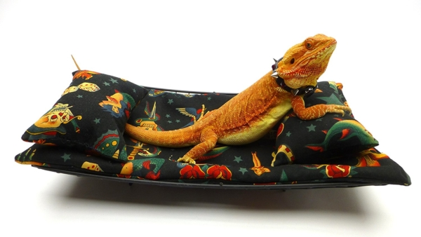 Chaise Lounge for Bearded Dragons, Vintage Tattoos fabric