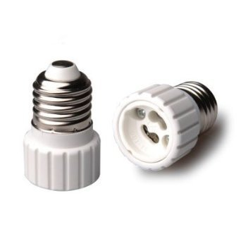 Reptile Basking Bulb Adapters; E27 standard thread to Halogen GU10, double pin, twist & lock, set of 2